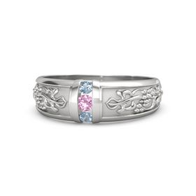 Men's Sterling Silver Ring with Pink Tourmaline & Blue Topaz