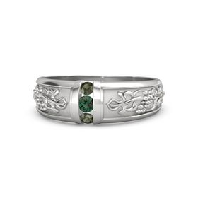 Men's Sterling Silver Ring with Alexandrite & Green Tourmaline