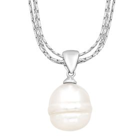 Ringed Pearl Triple-Strand Pendant
