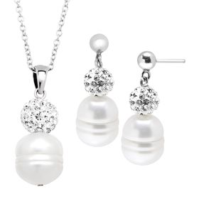 Ringed Pearl Pendant & Earrings Set with Crystals