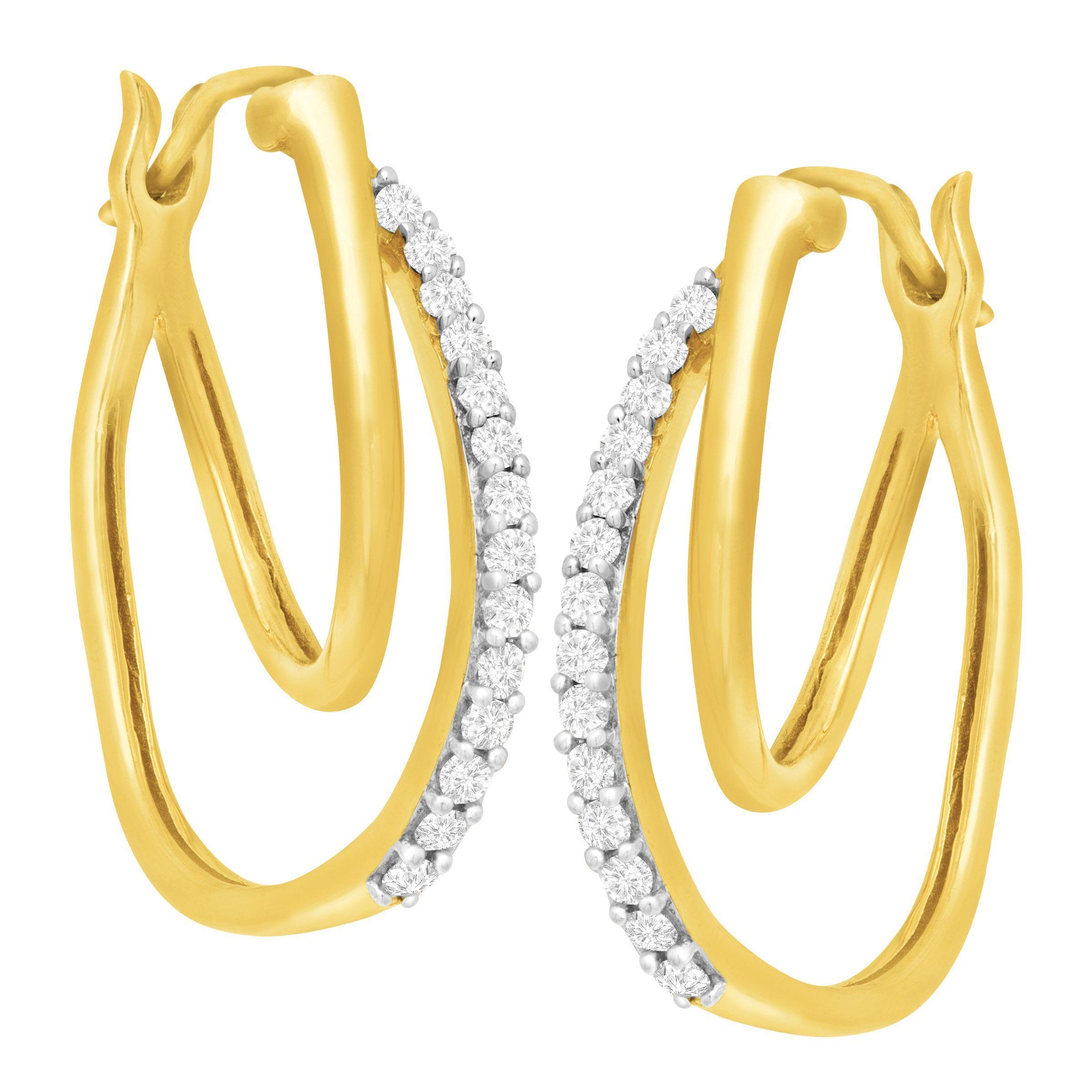 1 4 ct diamond double hoop earrings in 10k gold ebay. Black Bedroom Furniture Sets. Home Design Ideas