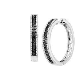 1 ct Black & White Diamond Hoop Earrings
