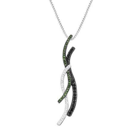 13 ct green black white diamond journey pendant in sterling 13 ct green black white diamond pendant aloadofball Choice Image
