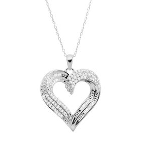 1/2 ct Diamond Swirled Heart Pendant, Silver