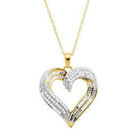 1/2 ct Diamond Swirled Heart Pendant, Yellow