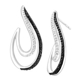 Swirl Earrings with White & Black Diamonds