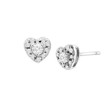 1 4 Ct Diamond Heart Halo Stud Earrings