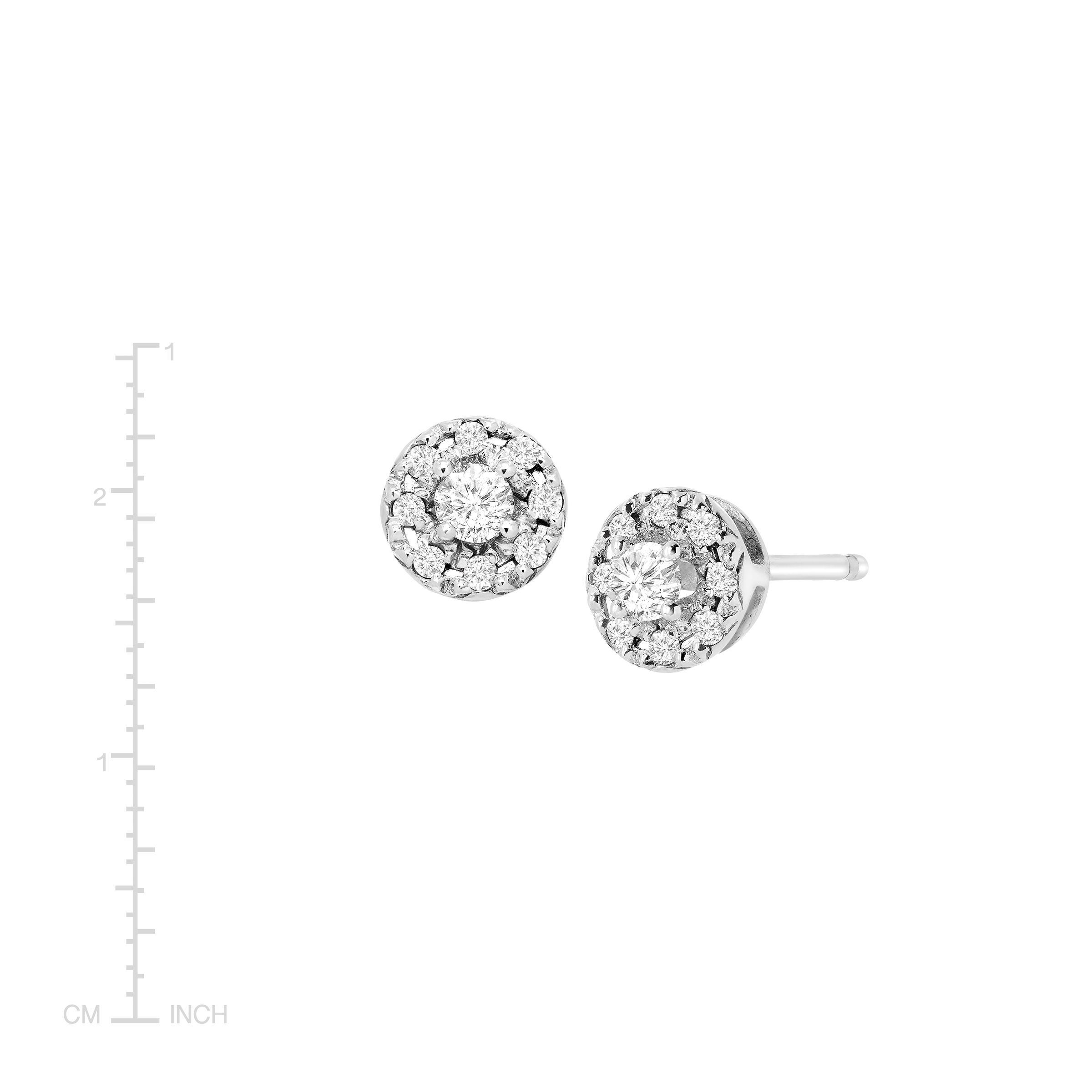 1 4 Ct Diamond Round Halo Stud Earrings In Sterling Silver