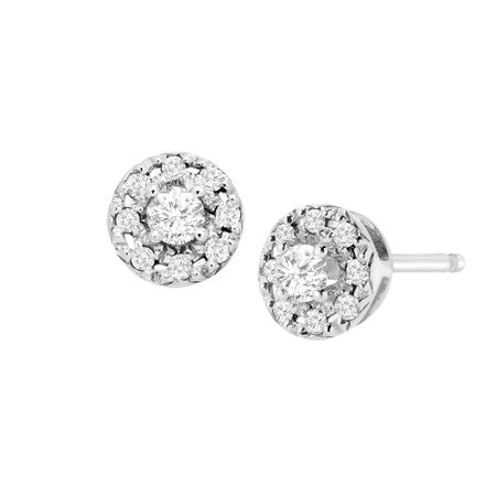 1/4 ct Diamond Round Halo Stud Earrings
