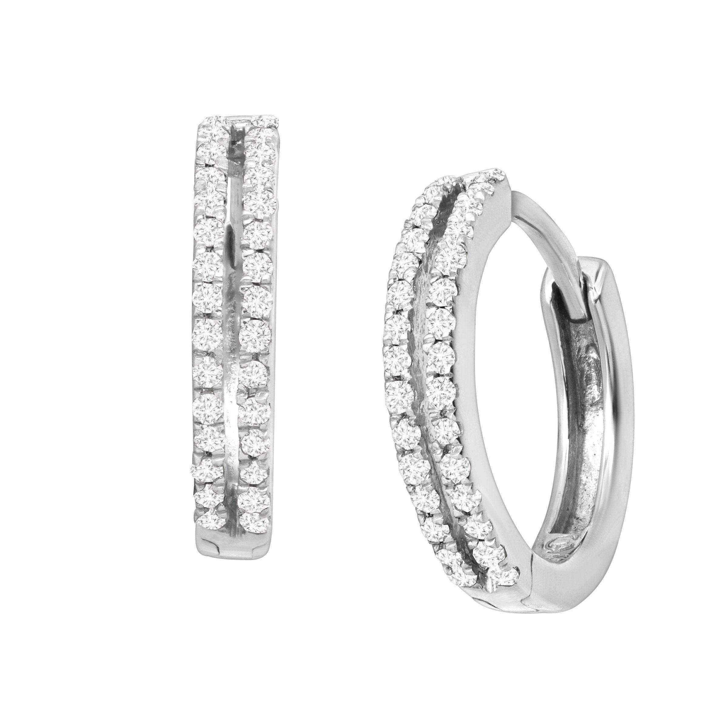 STERLING SILVER DIAMOND HOOP EARRINGS 1//4 CT