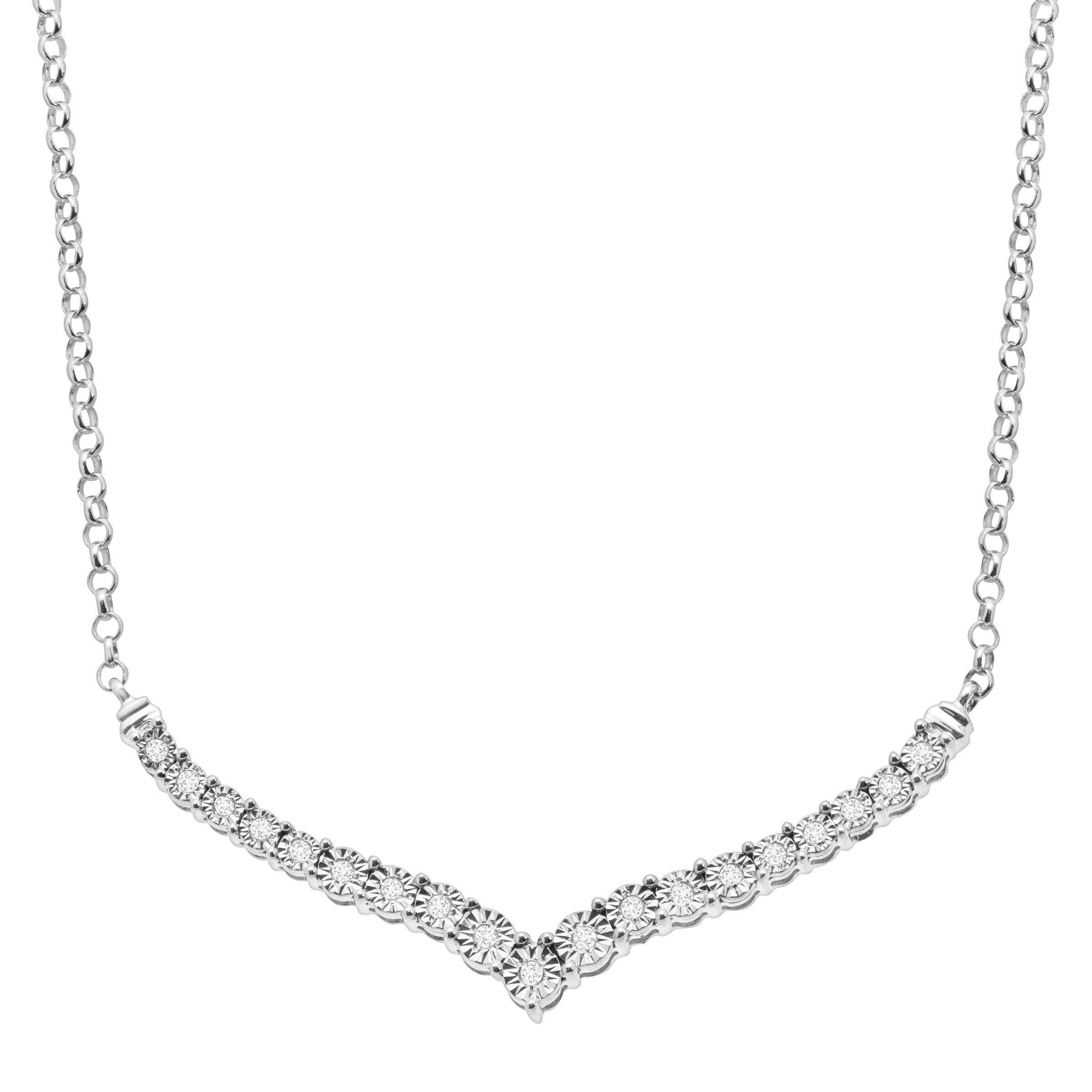 1 4 ct Diamond Chevron Necklace in Sterling Silver 749165221010  804659bd00