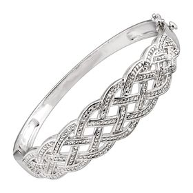 Woven Bangle Bracelet with Diamonds