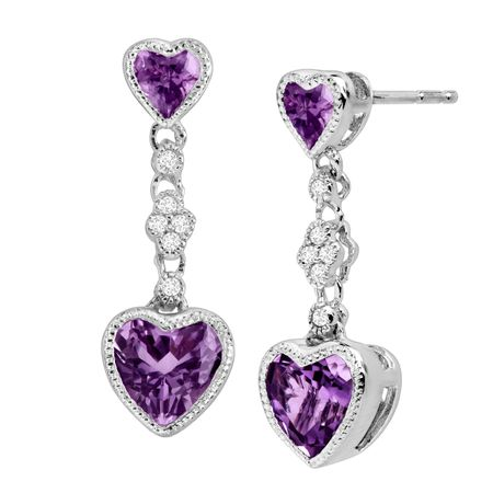 Amethyst Double Heart Earrings with White Sapphires