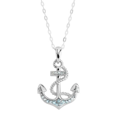 Blue & White Topaz Anchor Pendant