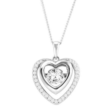 Double Heart Floater Pendant with Cubic Zirconia