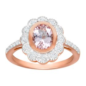 1 1/2 ct Morganite & White Topaz Ring