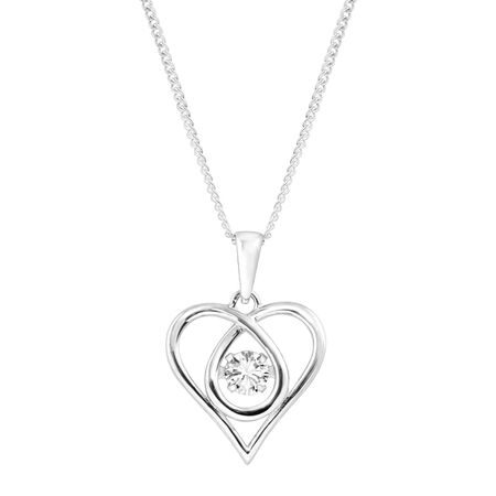 Twisted Heart Floater Pendant with Cubic Zirconia