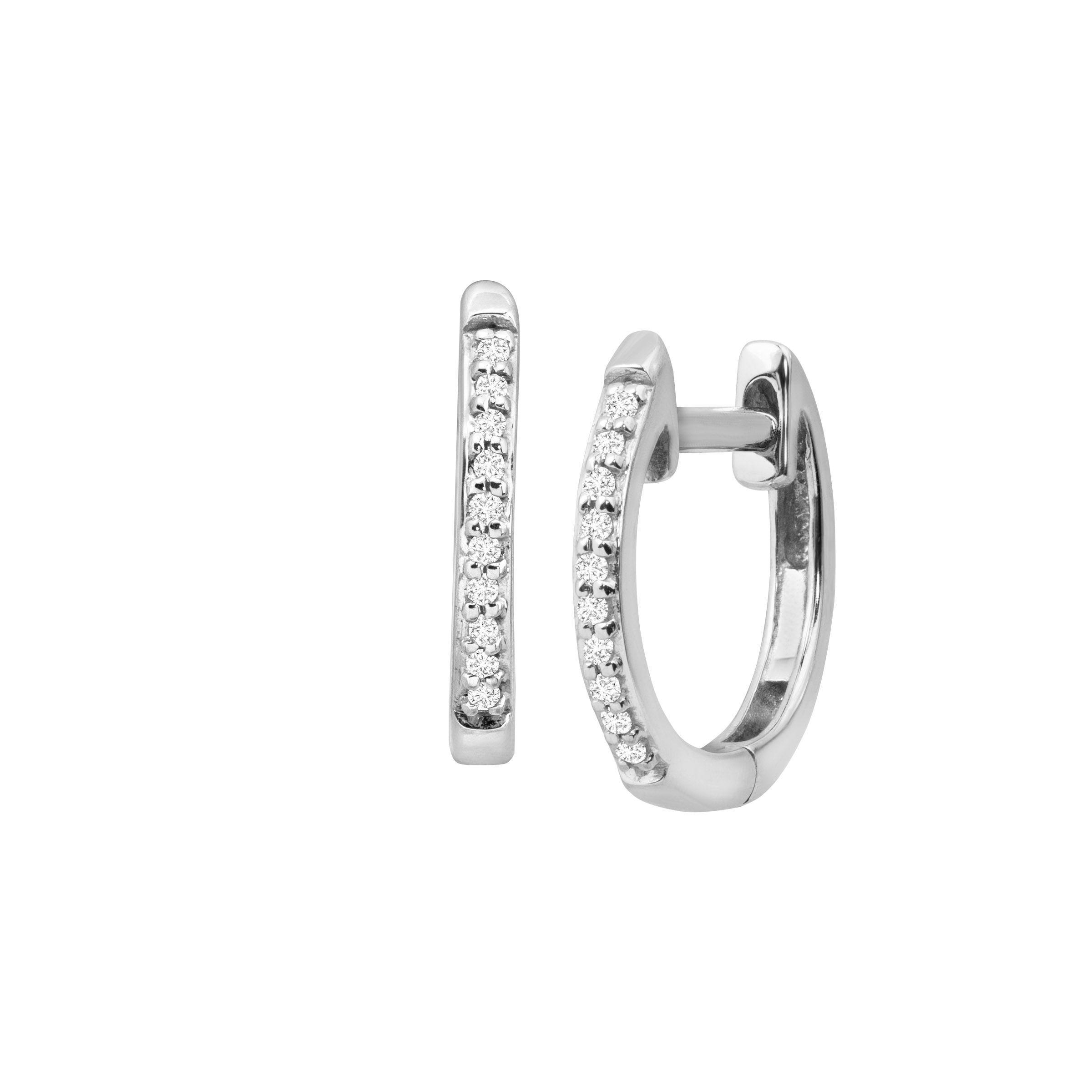 Pee Huggie Hoop Earrings With Diamond Accents In 10k White Gold