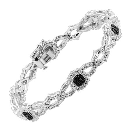 Interlocking Station Bracelet with Black & White Diamonds