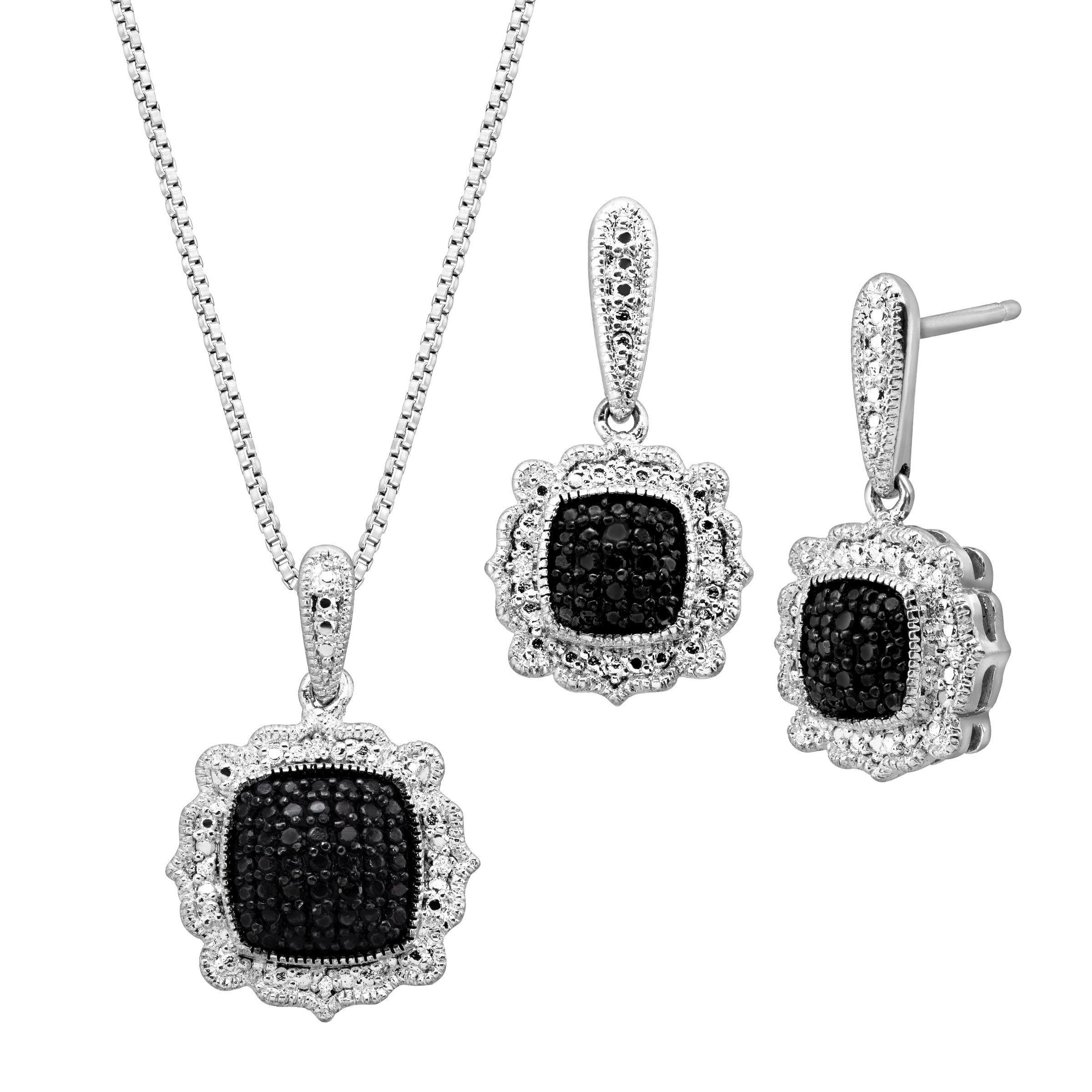 1/5 ct Black & White Diamond Jewelry Set in Rhodium-Plated ...