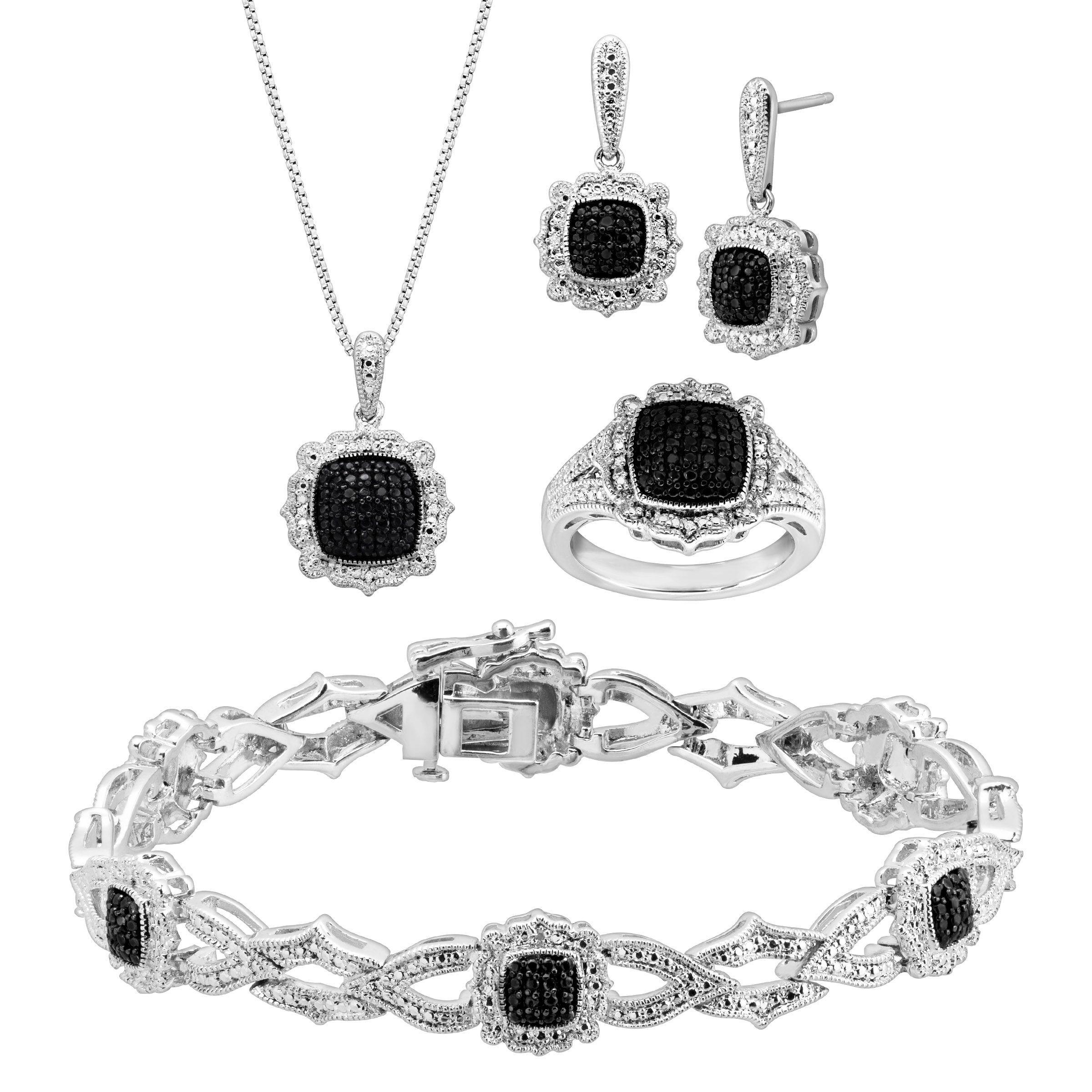 1 5 ct black white diamond jewelry set in rhodium plated. Black Bedroom Furniture Sets. Home Design Ideas