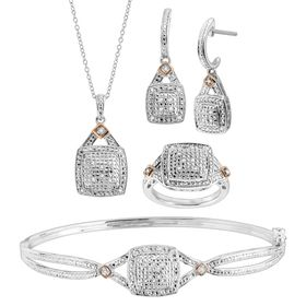 1/5 ct Diamond Pendant, Bangle, Ring, & Earrings Set