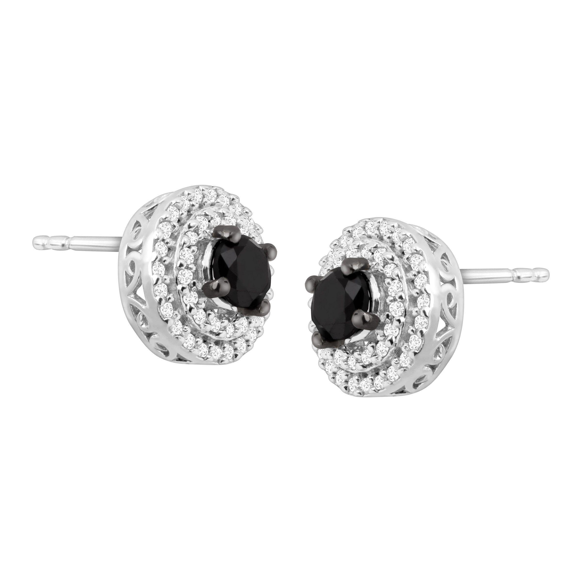 1 Ct Black White Diamond Halo Stud Earrings In Sterling Silver