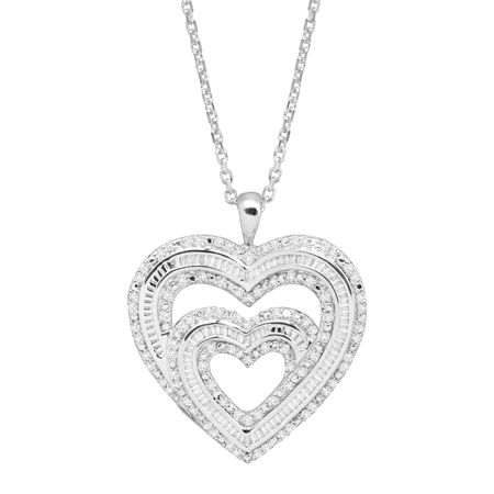 1 ct Diamond Double Heart Pendant
