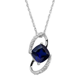 1 1/2 ct Sapphire Deco Pendant with Diamonds
