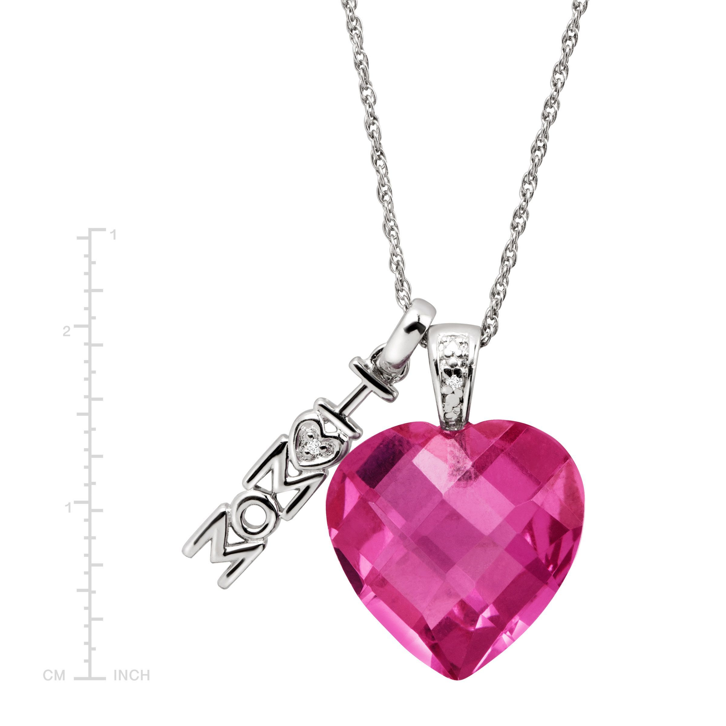 heart pendant pink gemstone cut chain created sterling pendants silver with sapphire necklace