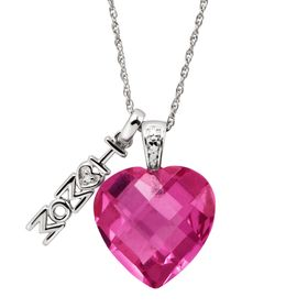 10 ct Pink Sapphire 'I Love Mom' Heart Charm Pendant with Diamond