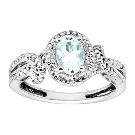 3/4 ct Aquamarine Ring with Diamonds