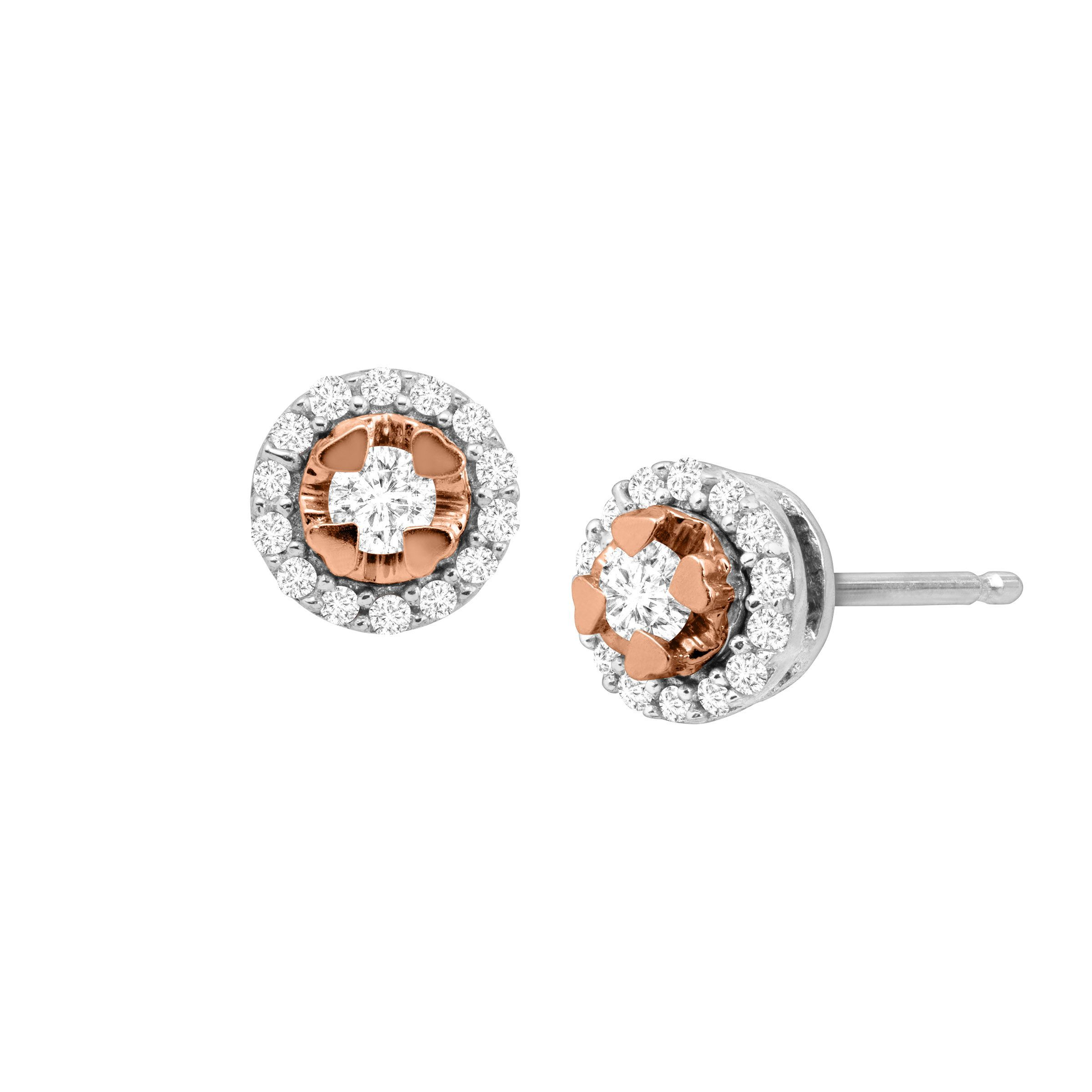 2468c24ca 1/5 ct Diamond Halo Stud Earrings in 18K Rose Gold-Plated Sterling Silver.  Finecraft
