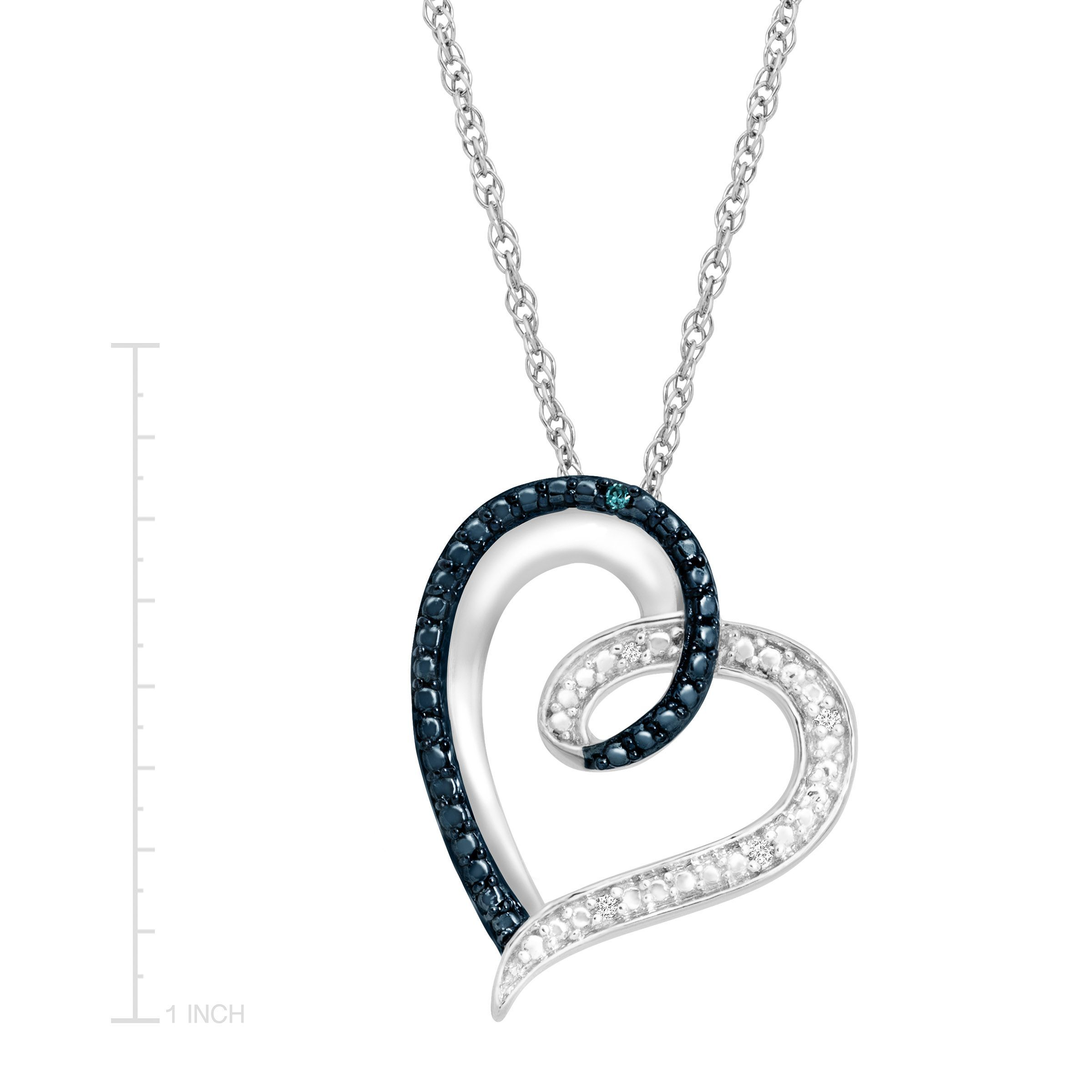 heart pendant necklace with blue and white diamonds in. Black Bedroom Furniture Sets. Home Design Ideas