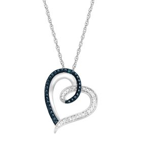 Heart Pendant with Blue & White Diamonds