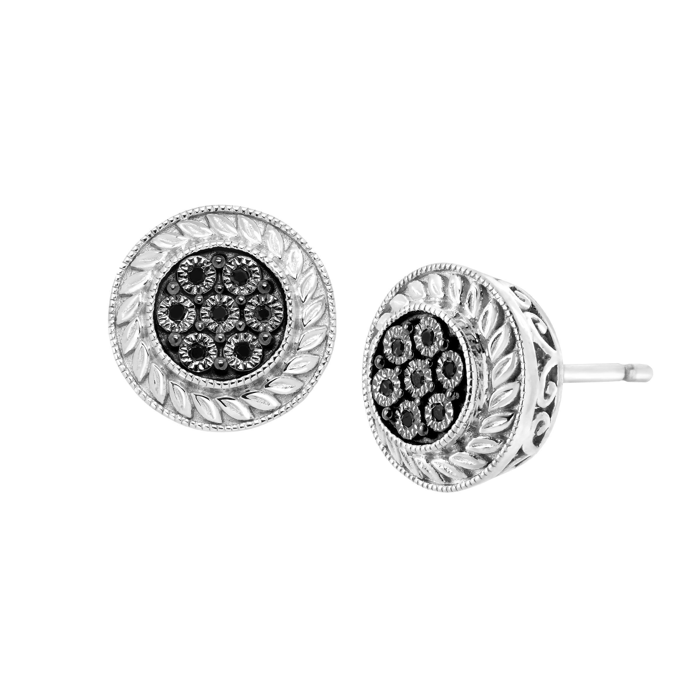 Halo Stud Earrings With Black Diamonds In Sterling Silver