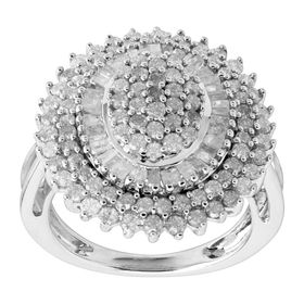 2 ct Diamond Oval Sunburst Ring