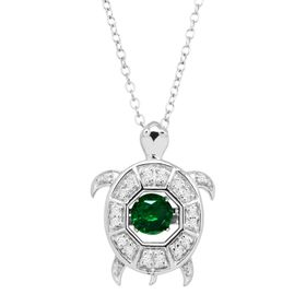 Emerald necklaces jewelry 12 ct emerald white sapphire turtle floater pendant aloadofball Images