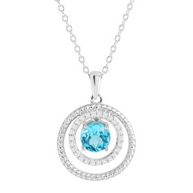 White & Blue Topaz Ringed Floater Pendant