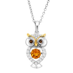 1/2 ct Citrine, White Sapphire, & Smoky Quartz Owl Floater Pendant