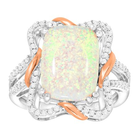 Opal & White Sapphire Ribbon Cocktail Ring