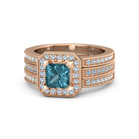 Princess London Blue Topaz 14K Rose Gold Ring with Blue Topaz and Aquamarine