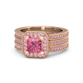 Princess Pink Tourmaline 14K Rose Gold Ring with Pink Tourmaline and Pink Sapphire