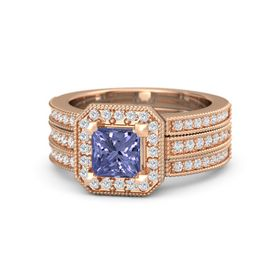 Princess Tanzanite 14K Rose Gold Ring with White Sapphire