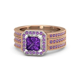 Princess Amethyst 14K Rose Gold Ring with Amethyst