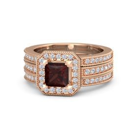 Princess Red Garnet 14K Rose Gold Ring with Diamond