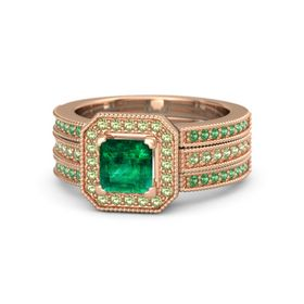 Princess Emerald 14K Rose Gold Ring with Peridot and Emerald