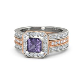 Princess Iolite 14K Rose Gold Ring with Diamond