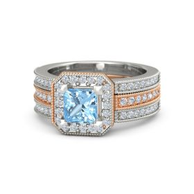 Princess Blue Topaz 14K Rose Gold Ring with Diamond