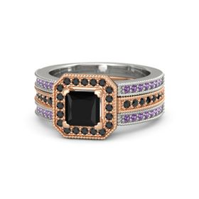 Princess Black Onyx 14K Rose Gold Ring with Black Diamond and Amethyst